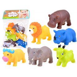 BaBy Toys: gumené zvieratká Safari, 6v1