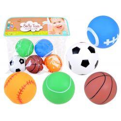 BaBy Toys: Gumené pískajúce loptičky 5 cm, 5v1