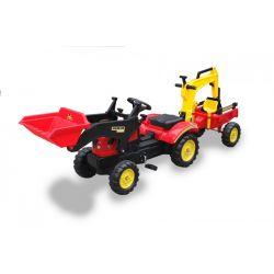 Veľký traktor/bager s vlečkou