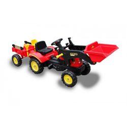 Veľký šľapací traktor s vlečkou