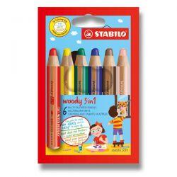 Farebné pastelky Stabilo Woody 3v1, 6 ks