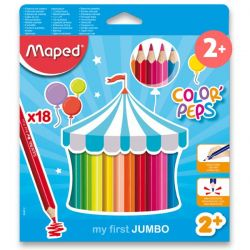 Pastelky MAPED trojhranné JUMBO 18 farieb