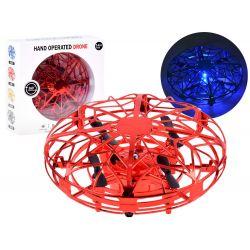 Lietajúce dron UFO ovládaný rukou, červený