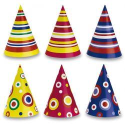 Farebné papierové klobúčiky so vzorom