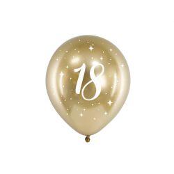 Balón 30cm, zlatý s číslom 18, 6v1