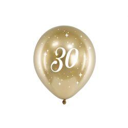Balón 30cm, zlatý s číslom 30, 6v1