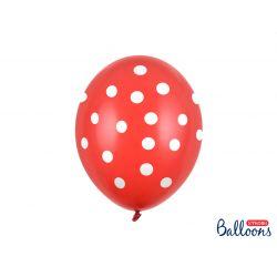 Balón 30cm, Bodkované - červeno/biele