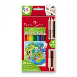 Farebné pastelky Faber-Castell, 12 farieb + 6 telových farieb