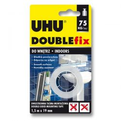 Obojstranná lepiaca páska UHU DOUBLEfix, 19 mm x 1,5 m