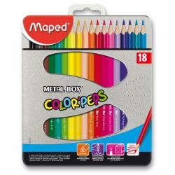 Farebné pastelky Maped Color´Peps Metal Box, 18 farieb