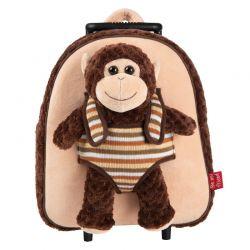 BE MY FRIEND Detský plyšový batoh na kolieskach- Opica