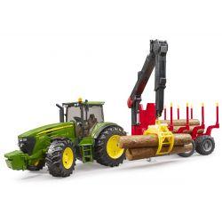 Bruder Traktor John Deere 7930 s vlečkou na drevo