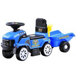 Veľký traktor s prívesom, modrý