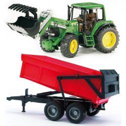 Bruder Traktor s čelným nakladačom a prívesom