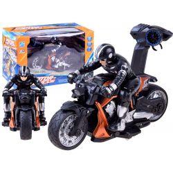Športová motorka s jazdcom na diaľkové ovládanie, oranžová