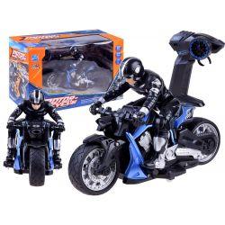 Športová motorka s jazdcom na diaľkové ovládanie, modrá