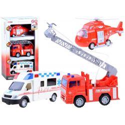 Set 3 vozidiel – vrtuľník, sanitka, hasiči