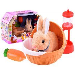 Interaktívny chodiaci plyšový zajačik v košíku + príslušenstvo