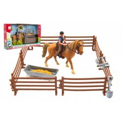 Set: Kôň s džokejom, ohradou a doplnkami