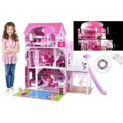 Drevený domček pre bábiky 90 cm, so šmýkačkou a výťahom, bazénom + LED svetlá