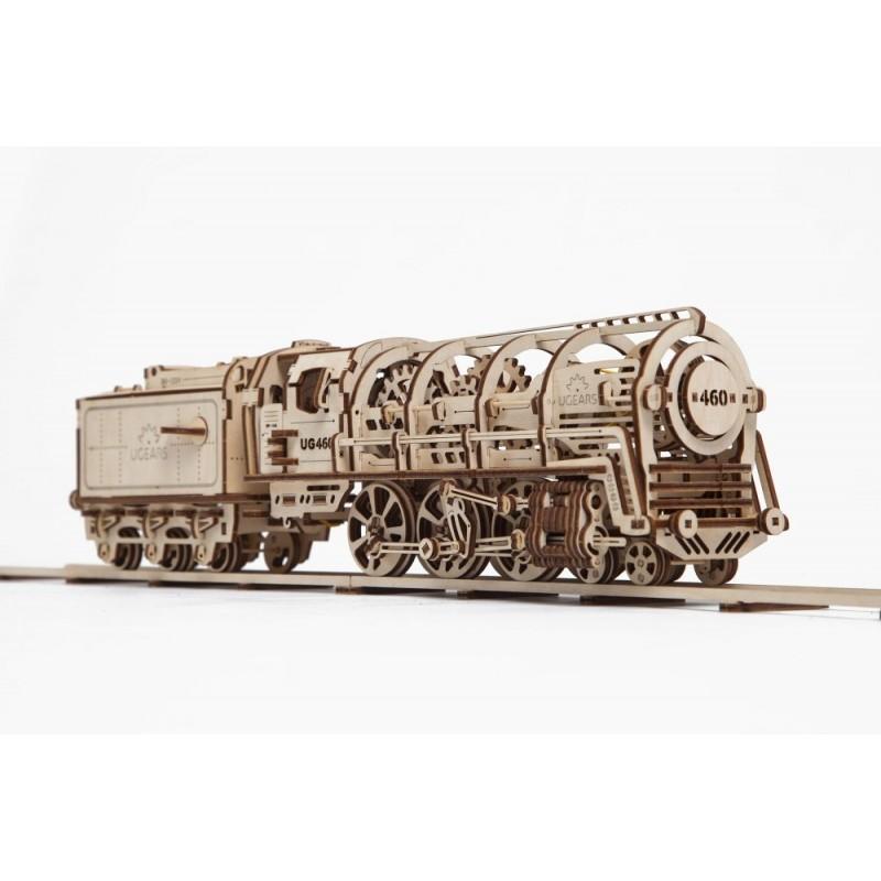 UGEARS – pohyblivé drevené 3D puzzle, Lokomotíva s vagónom