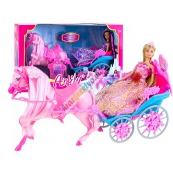 Rozprávkový koč s koníkom a bábikou, 2 farby