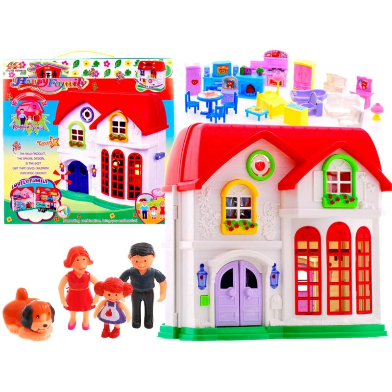 Veľký poschodový domček pre bábiky s postavičkami a nábytkom