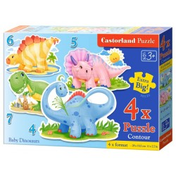 Castorland 4x Puzzle Baby Dinosaurs