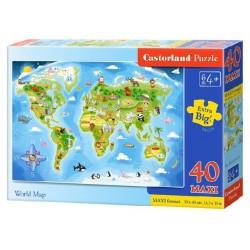 Castorland MAXI 40 Puzzle Mapa sveta