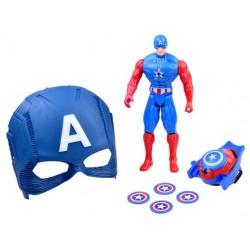 Maska Kapitán Amerika + figúrka a vystreľovač