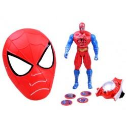 Maska Spiderman + figúrka a vystreľovač