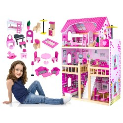 Krásny drevený domček pre bábiky s vybavením, 90cm
